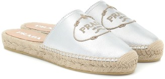 Prada Metallic leather espadrille slides