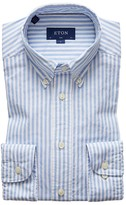 Eton Soft Blue Striped Royal Oxford Shirt - Slim Fit
