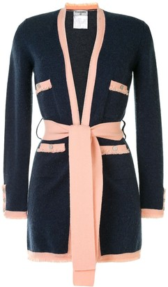 Chanel Pre Owned Frayed Tied Cardigan