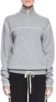 Chloé Drawstring-Hem Quarter-Zip Sweater, Gray/White