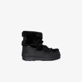 Moon Boot black Monaco low faux fur boots