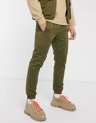 ASOS DESIGN co-ord slim quilted pants in khaki