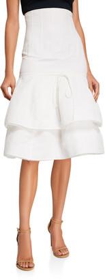 Brock Collection Cotton-Linen Tiered Midi Skirt