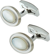 Hickey Freeman Rhodium-Plated Mother-of-Pearl Cabochon Cuff Links