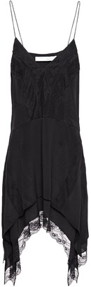 IRO Lace-trimmed Crepe De Chine Slip Dress
