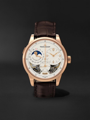 Jaeger-LeCoultre Duometre Quantieme Lunaire Hand-Wound Moon-Phase 42mm 18-Karat Pink Gold And Alligator Watch, Ref. No. Q6042422ms