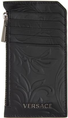 Versace Black Embossed Barocco Card Holder