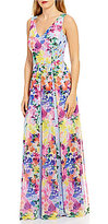 David Meister V-Neck Floral Printed Chiffon Gown