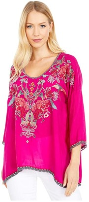 Johnny Was Merseille Blouse (Rasberry) Women's Clothing