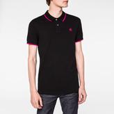 Paul Smith Men's Slim-Fit Black PS Logo Organic-Cotton Polo Shirt