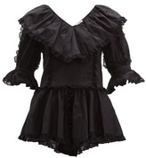 See by Chloe Lace-trim Ruffled Cotton-voile Blouse - Womens - Black