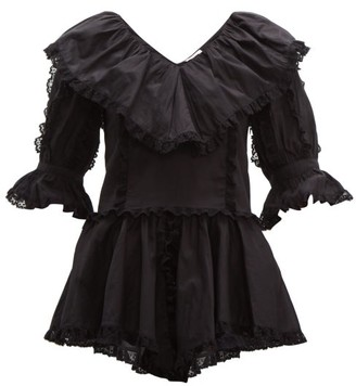 See by Chloe Lace Trim Ruffled Cotton Voile Blouse - Womens - Black