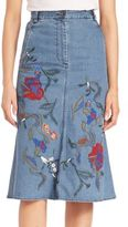 Tibi Silk Marisol Embroidery Front Slit Mid Skirt