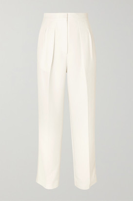 Roksanda Pleated Cady Straight-leg Pants - Ivory