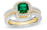 Zales 6.0mm Cushion-Cut Lab-Created Emerald and White Sapphire Frame Bridal Set in Sterling Silver and 14K Gold Plate