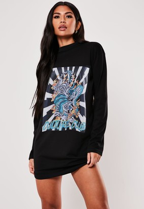 Missguided Black Dragon Graphic Oversized T Shirt Dress