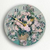 "White Roses by Vincent van Gogh 12"" Wall Clock"