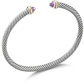 David Yurman Sterling Silver & 18K Yellow Gold Cable Cuff Bracelet with Amethyst