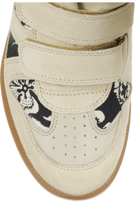 Isabel Marant The Bekett printed canvas and suede concealed wedge sneakers