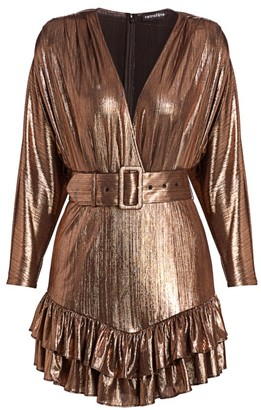 retrofete Maureen Metallic Faux-Wrap Mini Dress