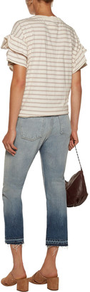 Current/Elliott The Cropped Distressed Mid-rise Straight-leg Jeans