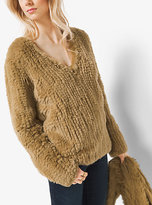 Michael Kors Fur V-Neck Sweater