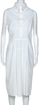 Jil Sander White Stretch Cotton Sleeveless Midi Dress L