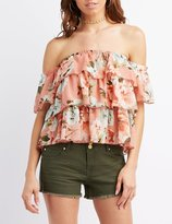 Charlotte Russe Floral Tiered Off-The-Shoulder Top