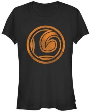 Fifth Sun Marvel Women's Loki Logo Orange Tonal Cut-Out Halloween Short Sleeve Tee Shirt
