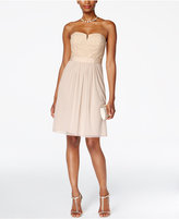 Adrianna Papell Strapless Lace A-Line Dress