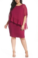 Adrianna Papell Plus Size Women's Pleated Sheath Dress With Chiffon Capelet