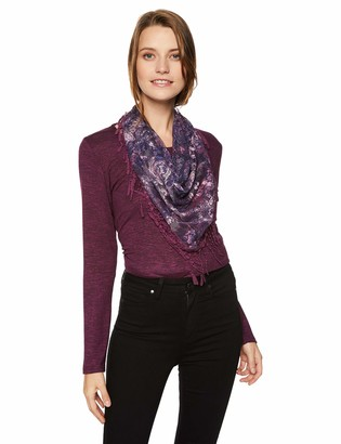 One World ONEWORLD Women's Long Sleeve Top with Printed Scarf