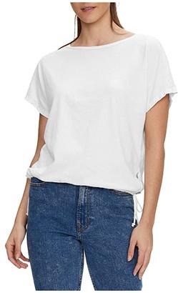 Michael Stars Zoe Boatneck Dolman Tee w/ Drawstring Hem (White) Women's Clothing