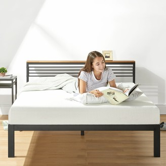 Crown Comfort HYLLE Metal Platform Bed with Headboard Shelf, Solid Pine Wood and Easy Assembly