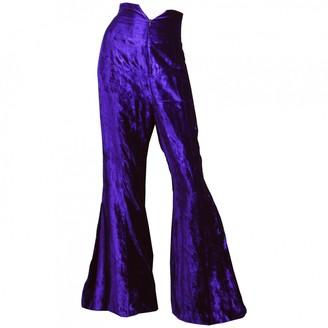Norma Kamali Purple Velvet Trousers