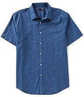 Murano Geometric Star Print Short-Sleeve Point Collar Shirt