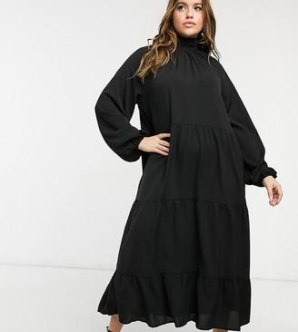 Lola May Curve trapeze cotton poplin dress in black