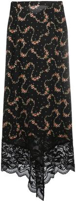 Paco Rabanne Lace-Hem Floral Print Skirt
