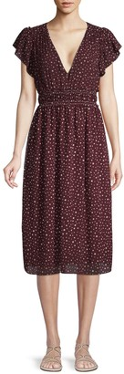 Max Studio Dot-Print Smocked Dress