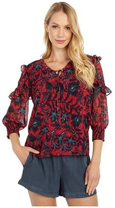 Sam Edelman V-Neck Ruffle 3/4 Sleeve (Coral/Black) Women's Clothing