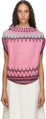 MM6 MAISON MARGIELA Pink Fair Isle Circle Knit Sweater
