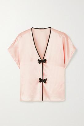 Morgan Lane Joanie Bow-embellished Satin Pajama Top - Pastel pink