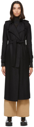 Harris Wharf London Black Pressed Wool Trench Coat