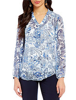 I.N. Studio Mandarin Collar Distressed Paisley Print Top