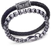 Steve Madden Men's Leather & Stainless Steel Box Bracelet Set