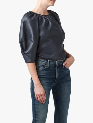 Rebecca Taylor Vegan Leather Puff Sleeve Blouse, Black