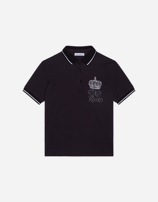 Dolce & Gabbana Pique Polo Shirt With King Print
