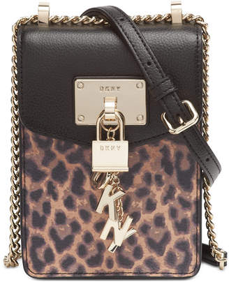DKNY Elissa North-South Leopard Leather Crossbody