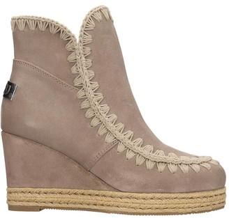 Mou Eskimo Jute Low Heels Ankle Boots In Grey Suede