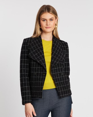 David Lawrence Avelin Check Felted Wool Jacket